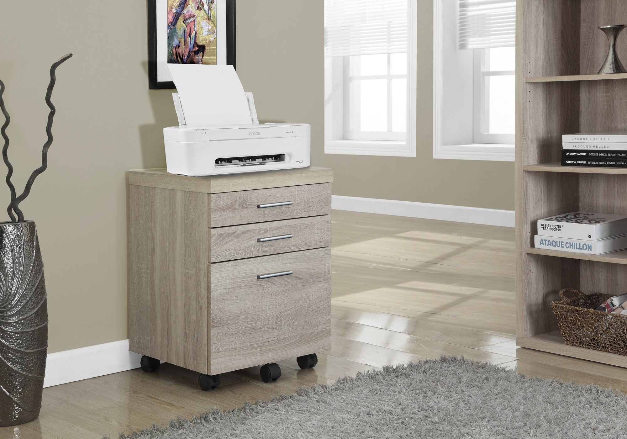 Monarch Specialties Filing Cabinet - 3 Drawer/Natural On Castors