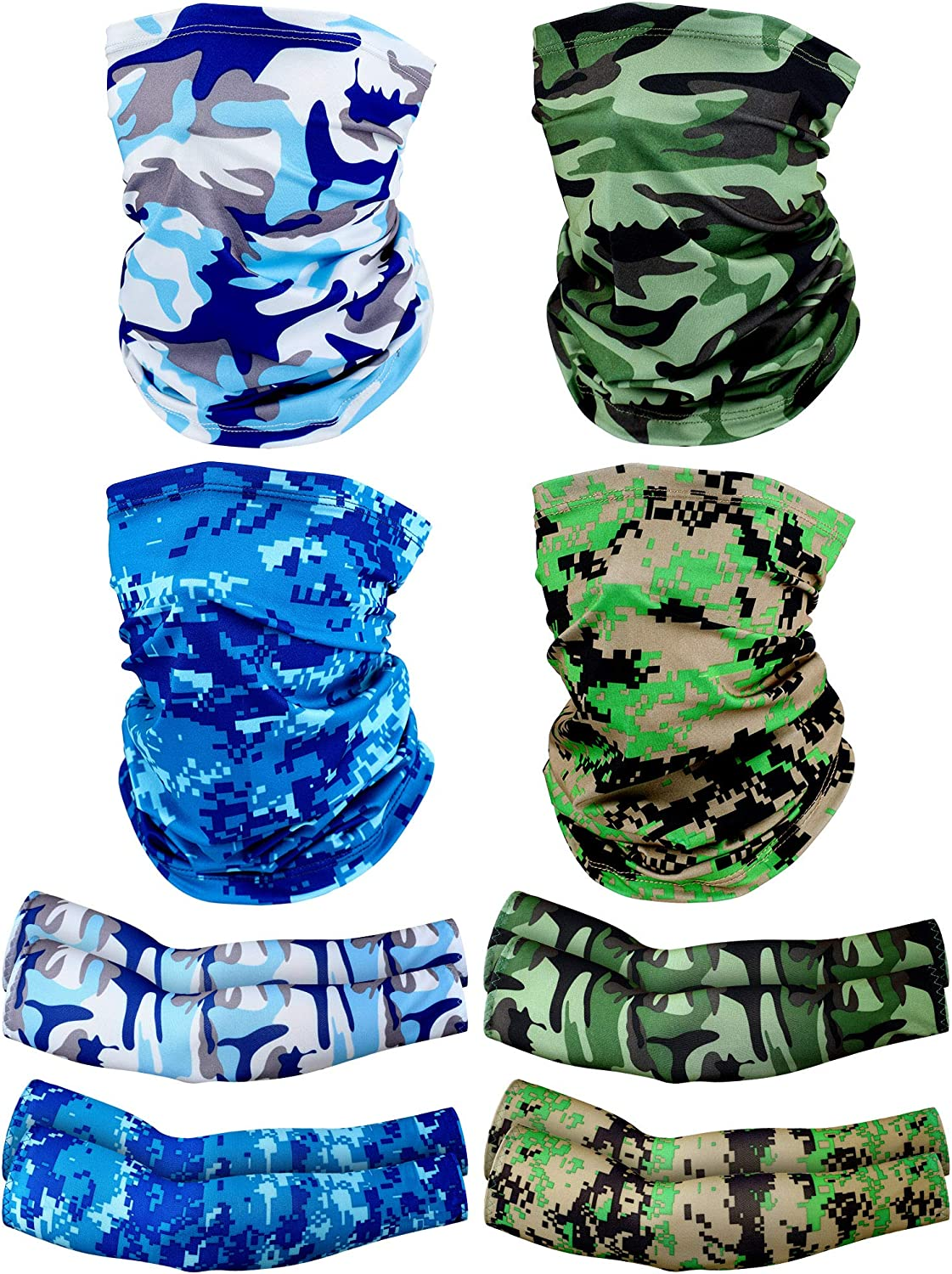 4 Pieces Face Cover Neck Gaiter and 4 Pairs Camouflage Cooling Arm Sleeves Summer UV Protection for Men Women