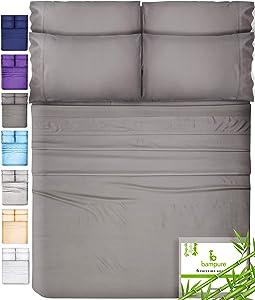 6 Piece Bamboo Sheets King Size Sheets - 100% Organic Bamboo King Sheets Cooling Sheets King Deep Pocket King Bed Sheets King Size Sheet Set King Size Bed Sheets Extra Deep Pocket Sheets Stone Gray