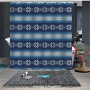 AngelDOU Winter Lightweight Durable Fabric Shower Curtain Traditional Scandinavian Needlework Inspired Pattern Jacquard Flakes Knitting Th for Bathroom with Free Hooks