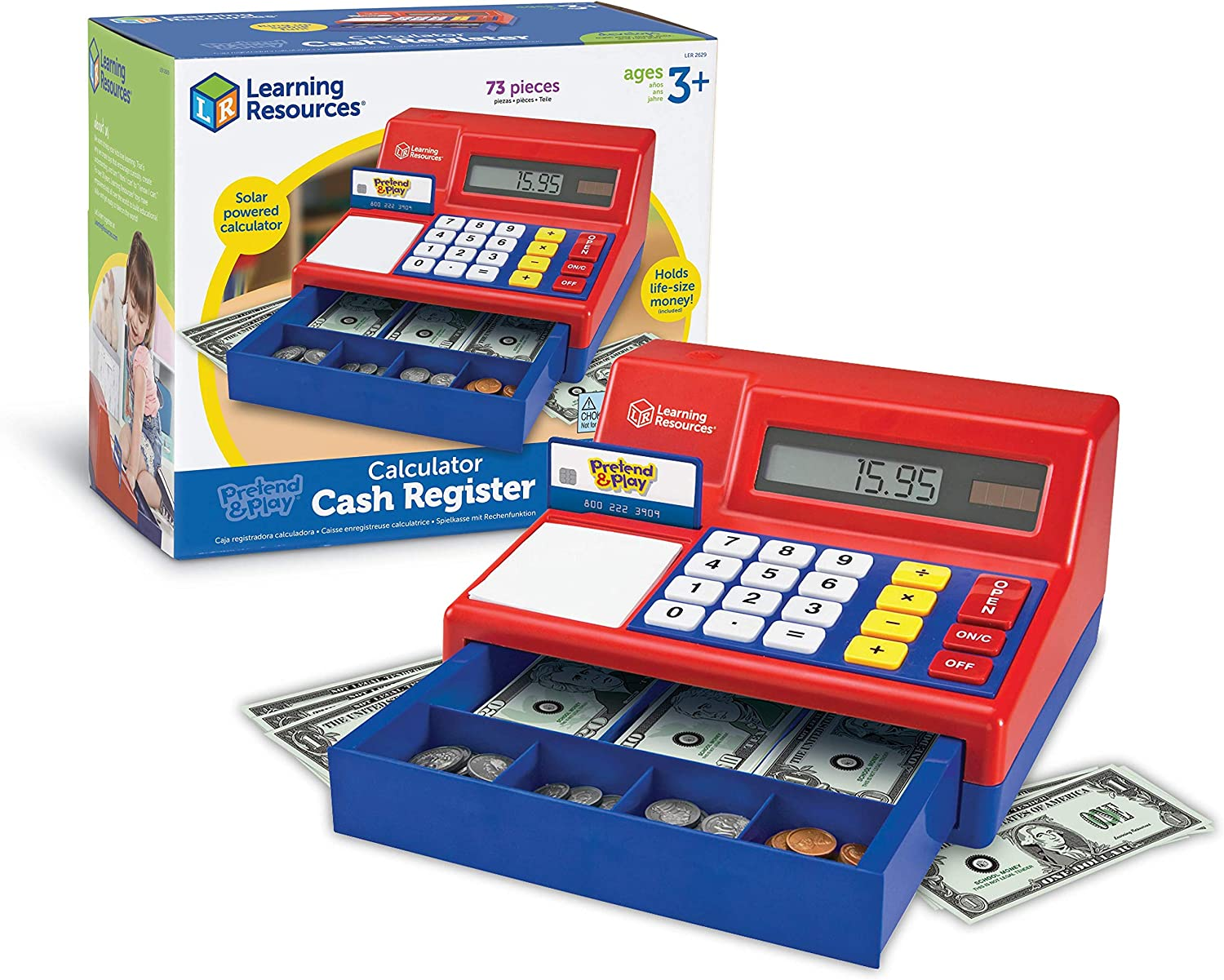 Amazon Com Learning Resources Pretend Play Calculator Cash Register Classic Counting Toy Kids Cash Register 73 Pieces Ages 3 Toys Games