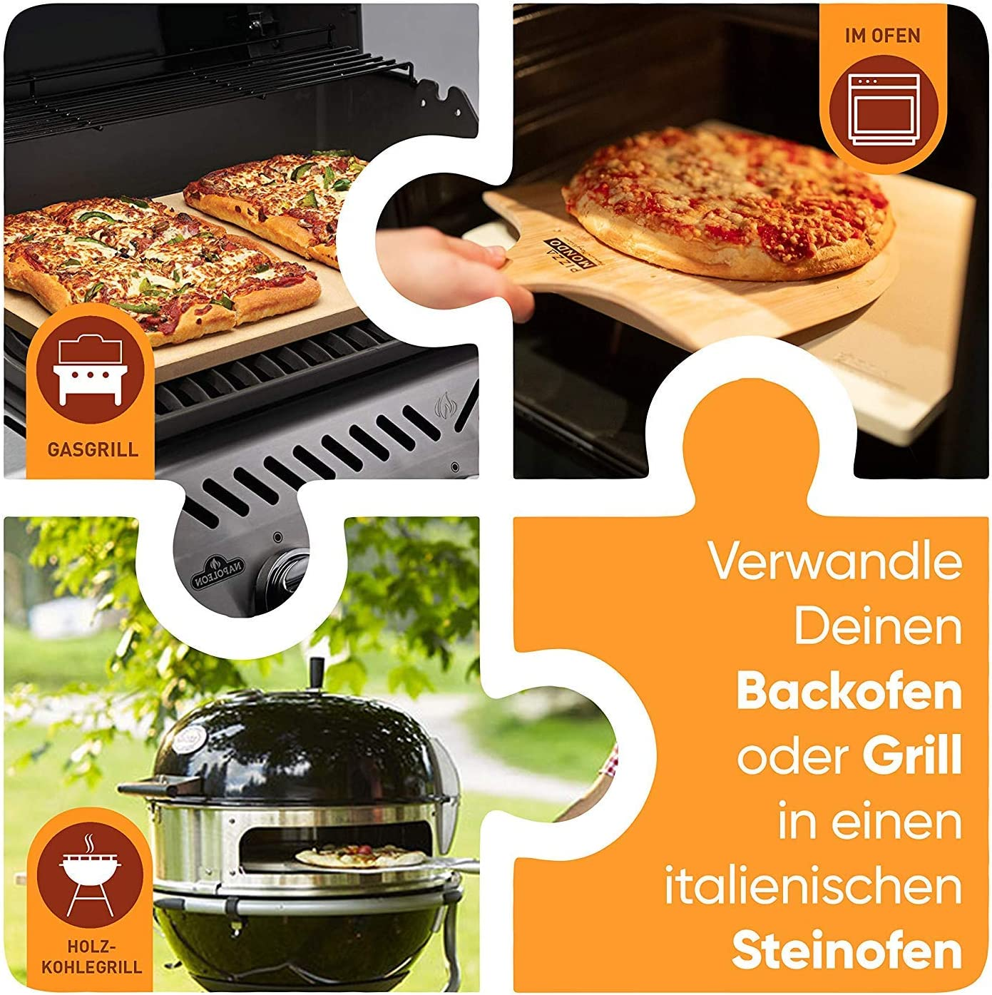 Carr/é 38 x 30 x 1,5 cm PIZZA TOOLS Pierre /à Pizza Froide /à Pizza comme par litalienne avec Pelle /à Pizza Id/éal pour Le Barbecue et Le Four