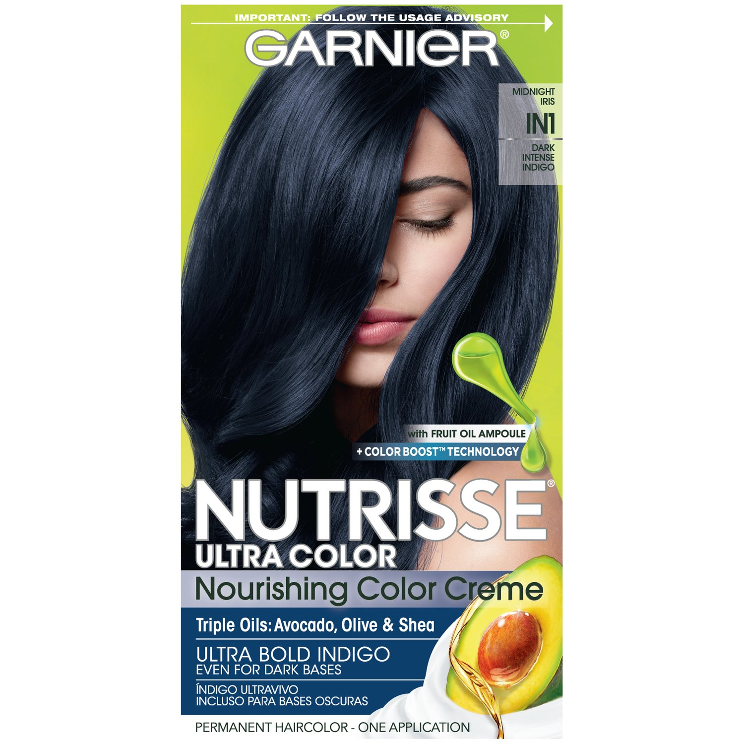 Garnier Nutrisse Ultra Color Nourishing Hair Color Creme, IN1 Dark Intense Indigo (Packaging May Vary), 1 Count