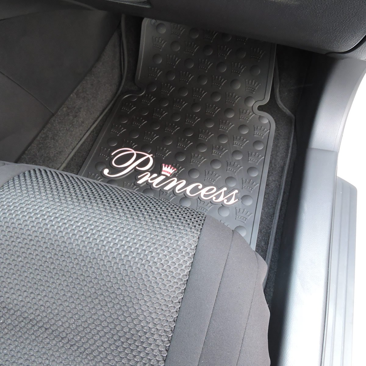 Floor Mats Princess Auto - Amazon com 2pc pink princess black rubber front floor mats automotive