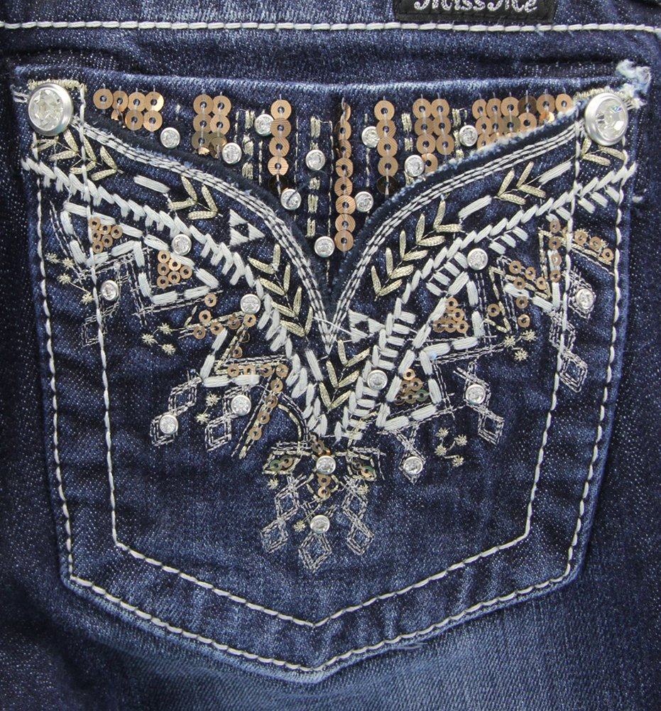 Miss Me Junior's Rhinestone Faux Flap Pocket Bootcut Jean, Dark Wash, 26