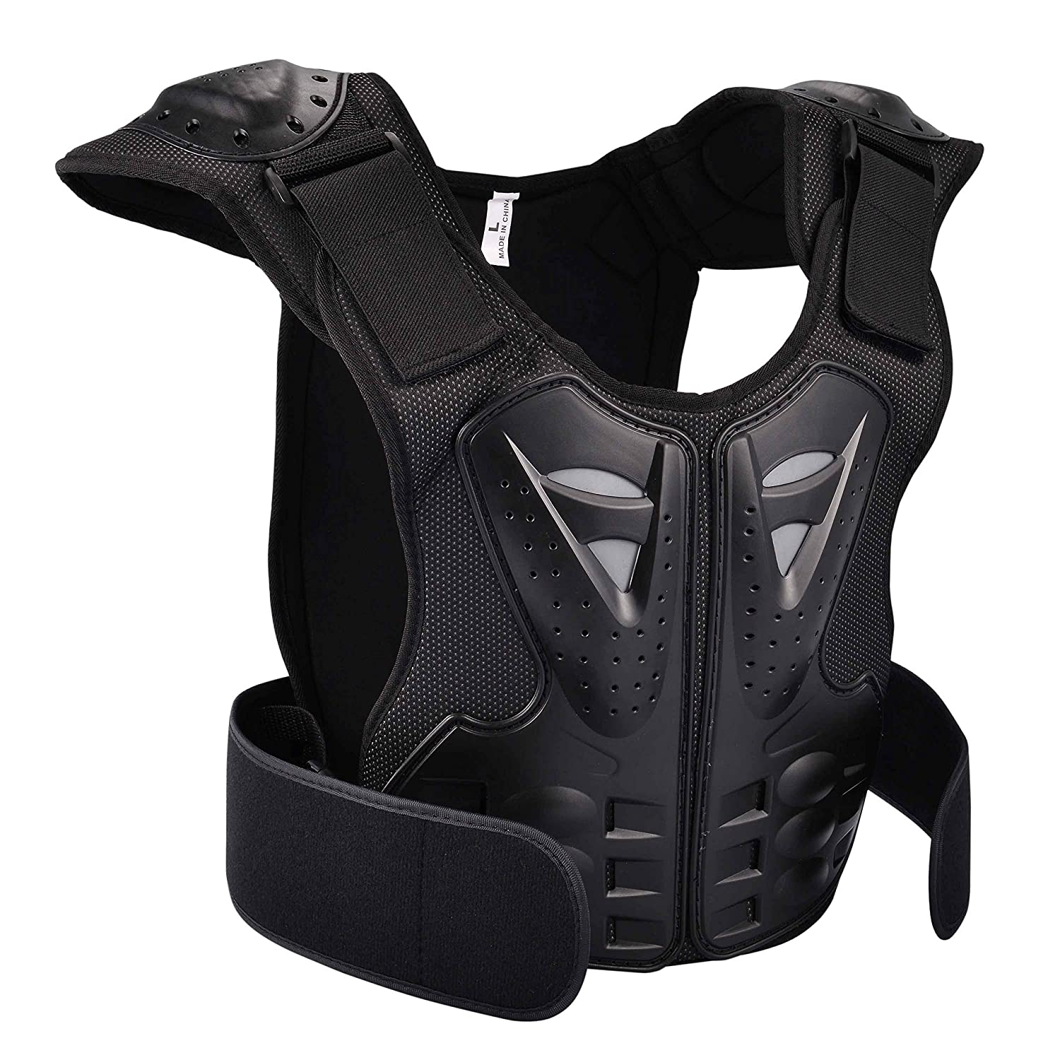 Black, M OHMOTOR Kid Body Armor Armour Jacket Children Chest Back Spine Protector Vest