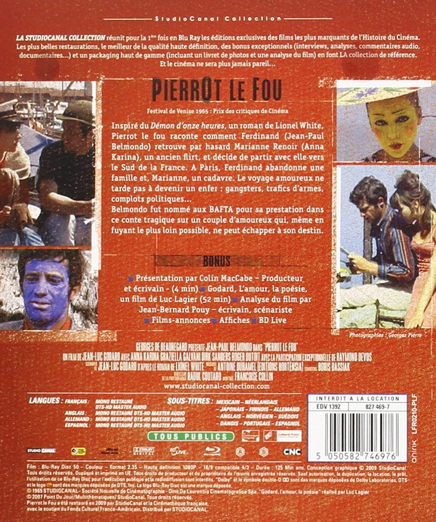 Pierrot le fou [Francia] [Blu-ray]: Amazon.es: Jean-Paul Belmondo, Anna Karina, Dick Sanders, Raymond Devos, Graziella Galvani, Jean-Luc Godard: Cine y ...