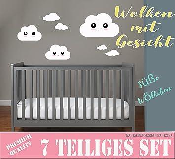 Babyzimmer deko wand  WOLKEN mit Gesicht SET Wolken Wandtattoo Wandaufkleber Sticker ...