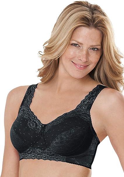 Comfort Choice Womens Plus Size Sidewire Lace Bra