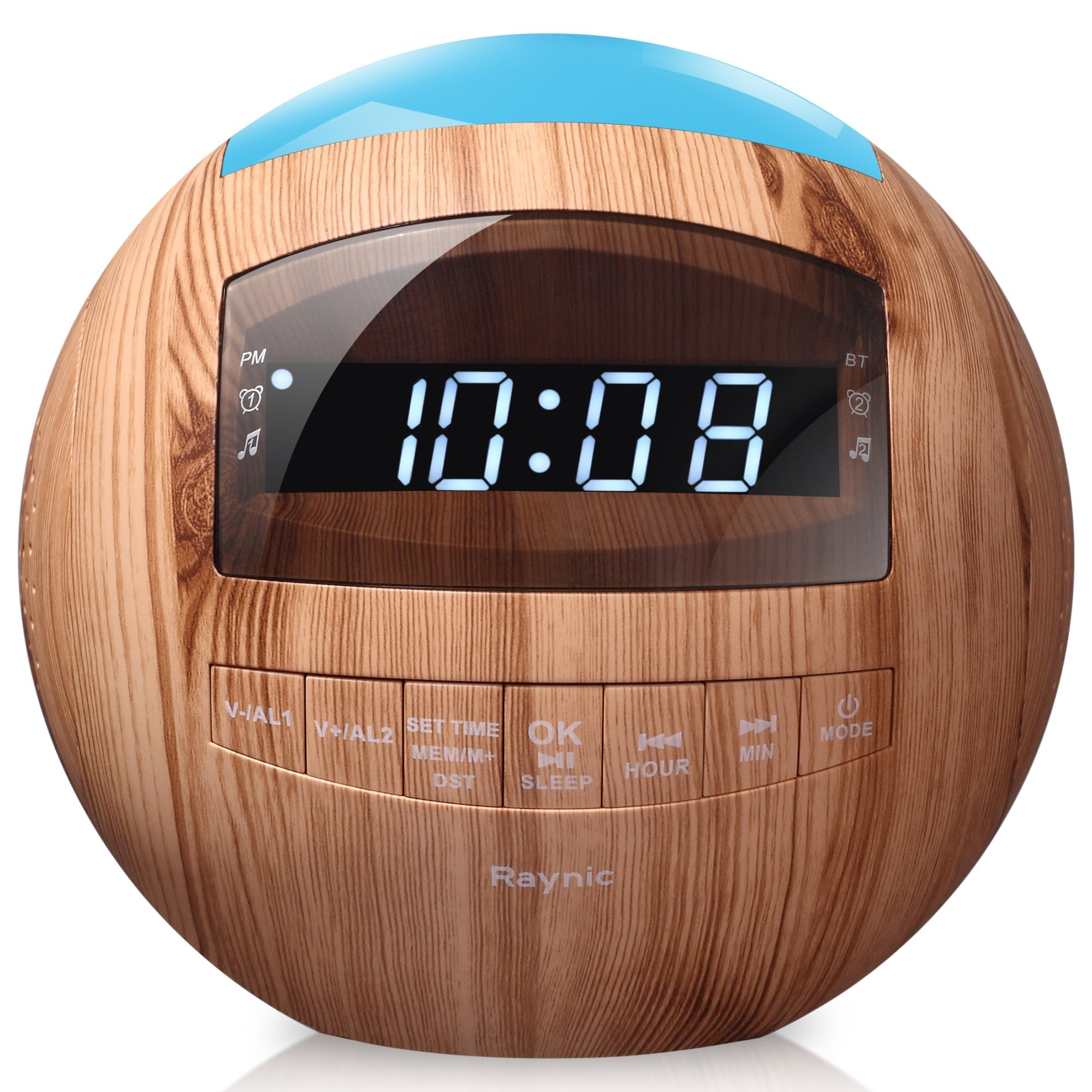 8-in-1 Bluetooth Alarm Clock Radio (Digital) Dual USB Charging Ports, FM Stereo, Dimmable LED Display, Nap & Sleep Timers, Snooze, Multi-Color Night Light (Wooden) by Raynic