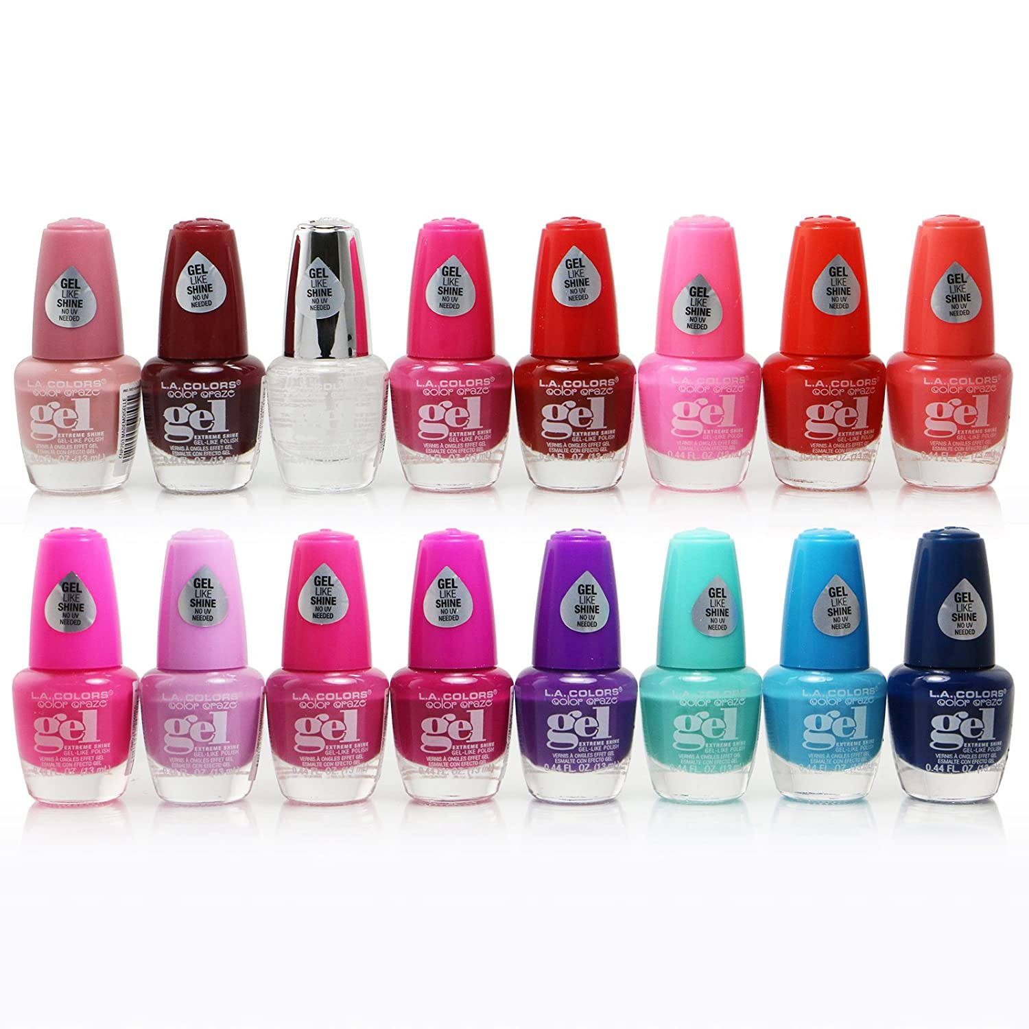 Amazon.com : 16pc L.A. Colors Extreme Shine Gel Nail Polish No UV ...