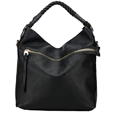 bbdd630956fa Amazon.com: Women's Vintage Genuine Leather Tote Shoulder Bag(Black ...