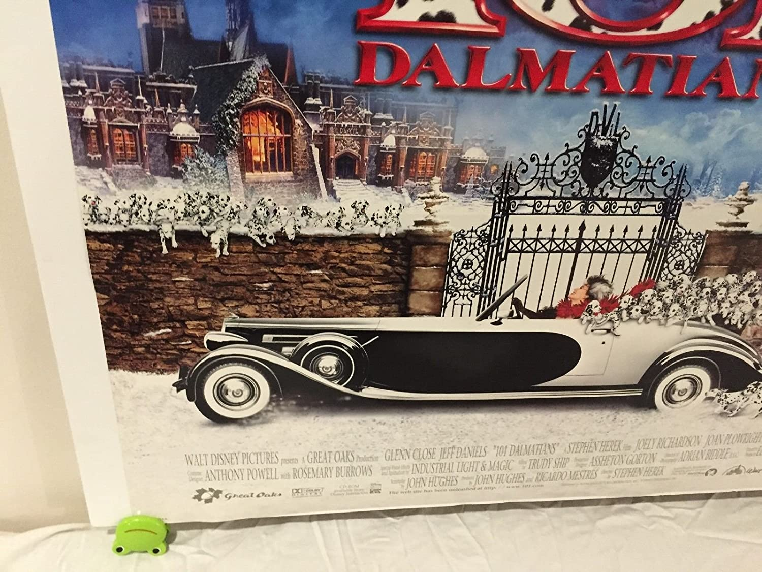 Walt disney 101 Dalmatians Movie Poster 27x40 One Sheet Rare 1996 Double Sided