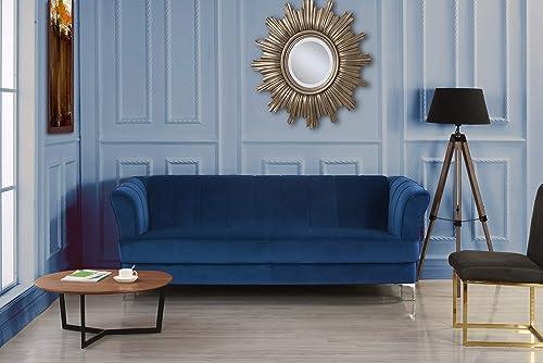 Elegant Classic Living Room Velvet Sofa – Colors Blue, Green, Grey, Red Blue