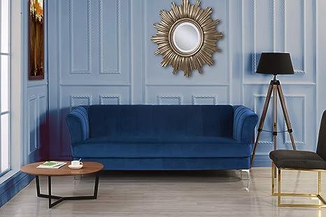 Elegant Classic Living Room Velvet Sofa - Colors Blue, Green, Grey, Red (Blue)