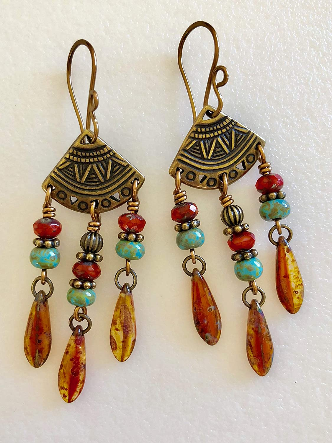 Turquoise Picasso Antique Bronzed Brass Boho Chic Chandelier Dangle Earrings