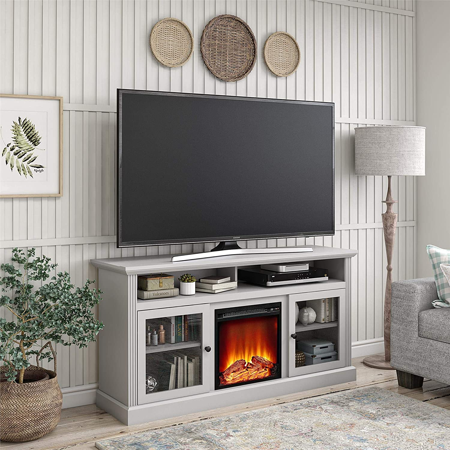 Ameriwood Home Chicago Fireplace 65 inch TV Stand