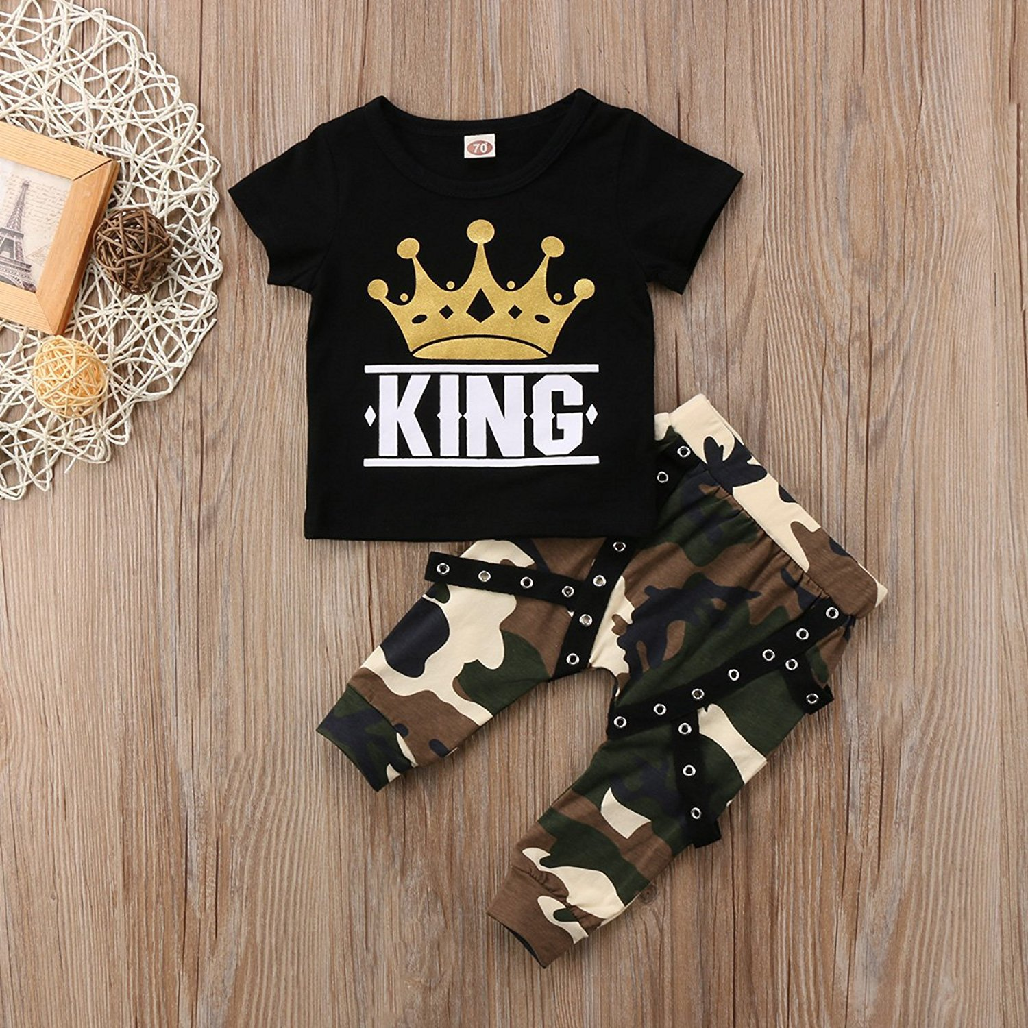 d0326882c35d Amazon.com  Toddler Baby Boy Clothes King Long Sleeve Black T-Shirt ...