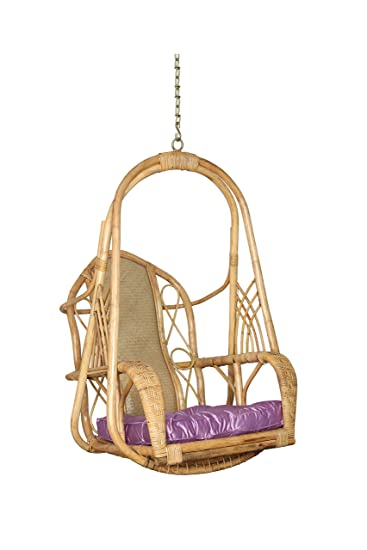 Riyo Moda Indoor Outdoor White Cane Hanging Shaahi Swing Set/Jhula with Cushion and Mild Steel Chain for Home Balcony and Garden- (Upto 110kgs of Human Weight)