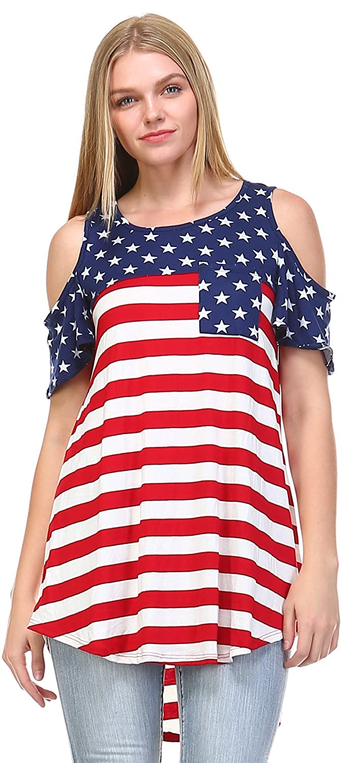 Zoozie LA Women's American Flag Shirt Patriotic Tank Tops Regular And Plus Size