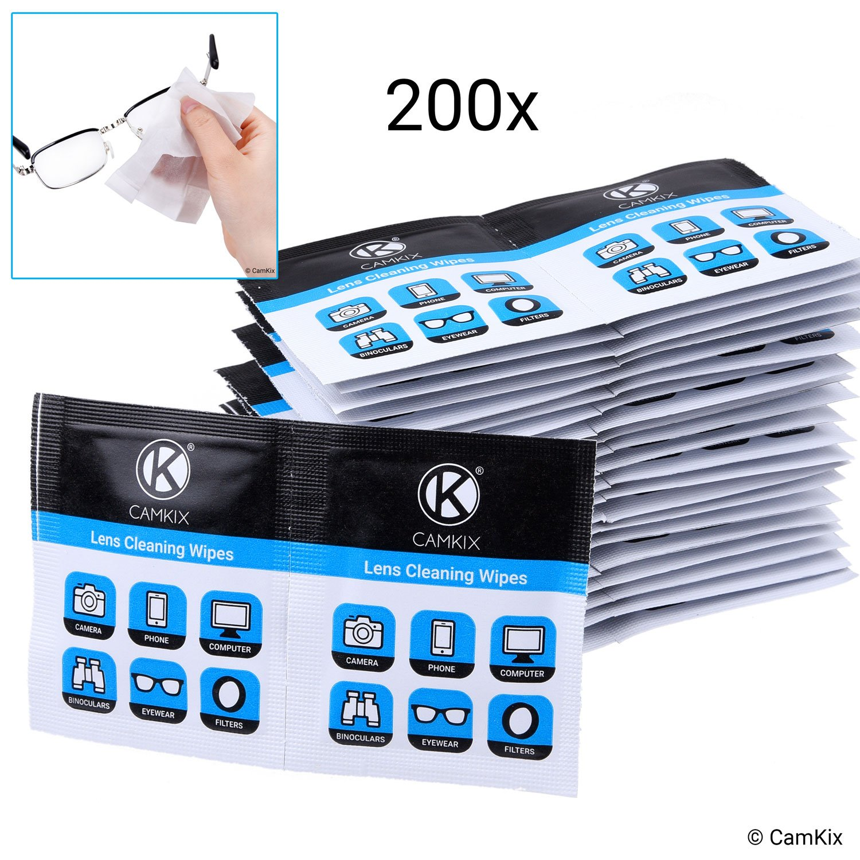 Toallitas limpiadoras de lentes: 200 Envoltura individual Tejidos mojados – Paños polacos húmedos para gafas, gafas de sol, lentes de cámara, pantallas de telefono/tabla, binoculares, etc. lentes de cámara CamKix
