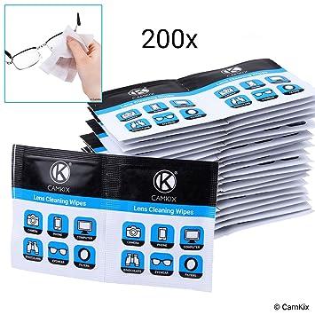 Toallitas limpiadoras de lentes: 200 Envoltura individual Tejidos mojados – Paños polacos húmedos para gafas