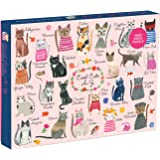 """Mudpuppy Cool Cats 1000 Piece Puzzle – Whimsical Carolyn Gavin Illustrations of 23 Cats with Finished Puzzle 20"""" x 27"""""""