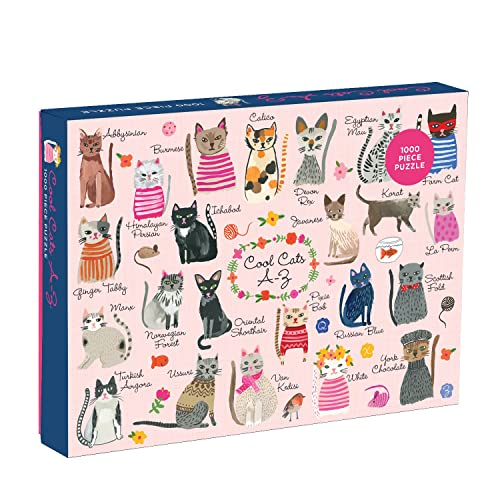 """Mudpuppy Cool Cats 1000 Piece Puzzle """" Whimsical Carolyn Gavin Illustrations Of 23 Cats With Finished Puzzle 20 X 27"""