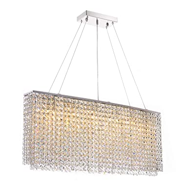 Siljoy Modern Crystal Chandelier Lighting Rectangular Oval Pendant Lights for Dining Room Kitchen Island L 37.4 x W 7.9 x H 16
