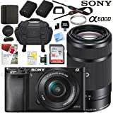 Sony Alpha a6000 24MP Mirrorless Camera 16-50mm & 55-210mm Zoom Lens + 64GB Accessory Bundle + Deluxe Gadget Bag + Extra Battery+Wide Angle Lens+2x Telephoto Lens (Executive Accessory Kit, Black)