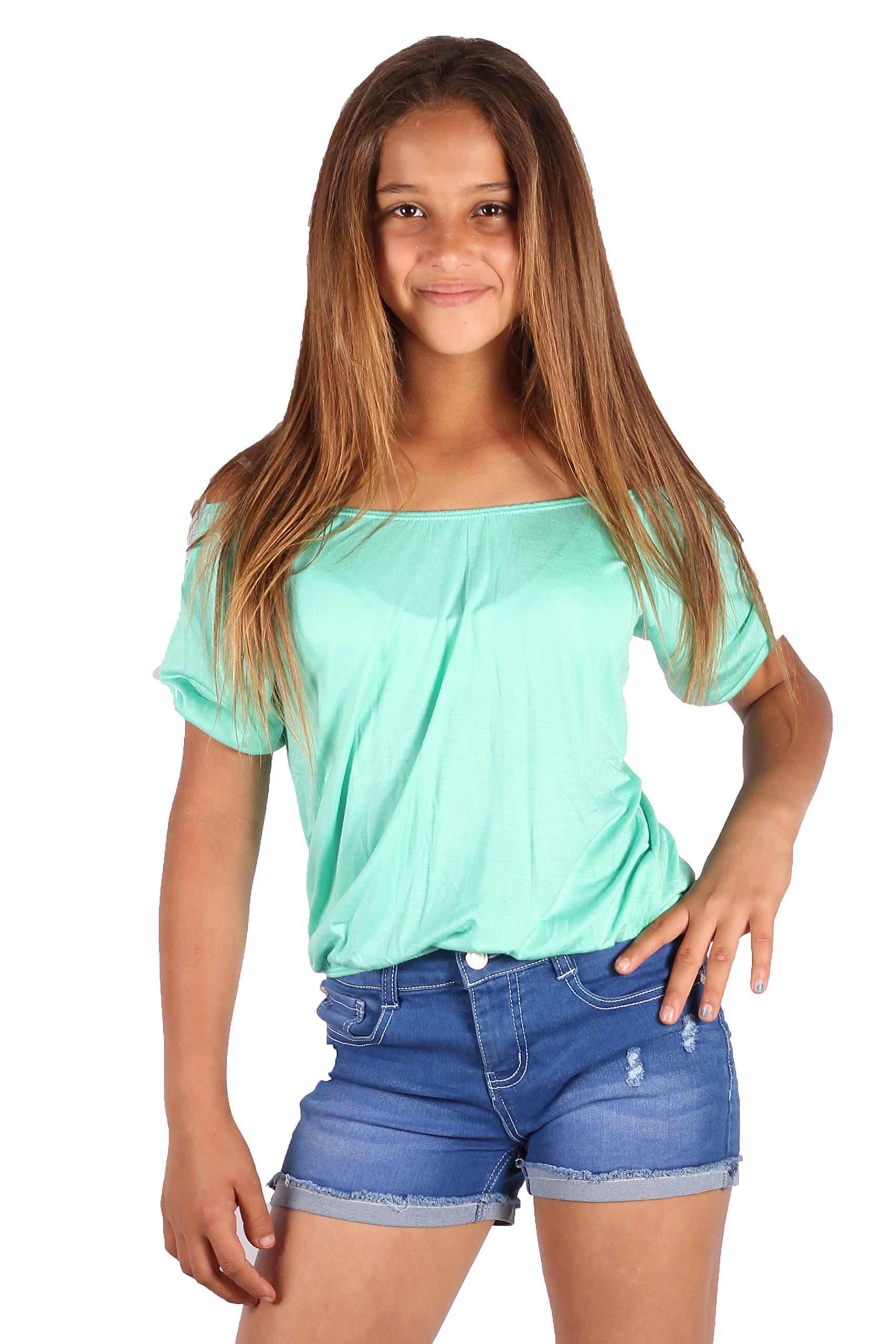 Lori&Jane Short Sleeve Top Loose Fit Top for Girls Gathered Off Shoulder - Made in USA (Mint, 14)
