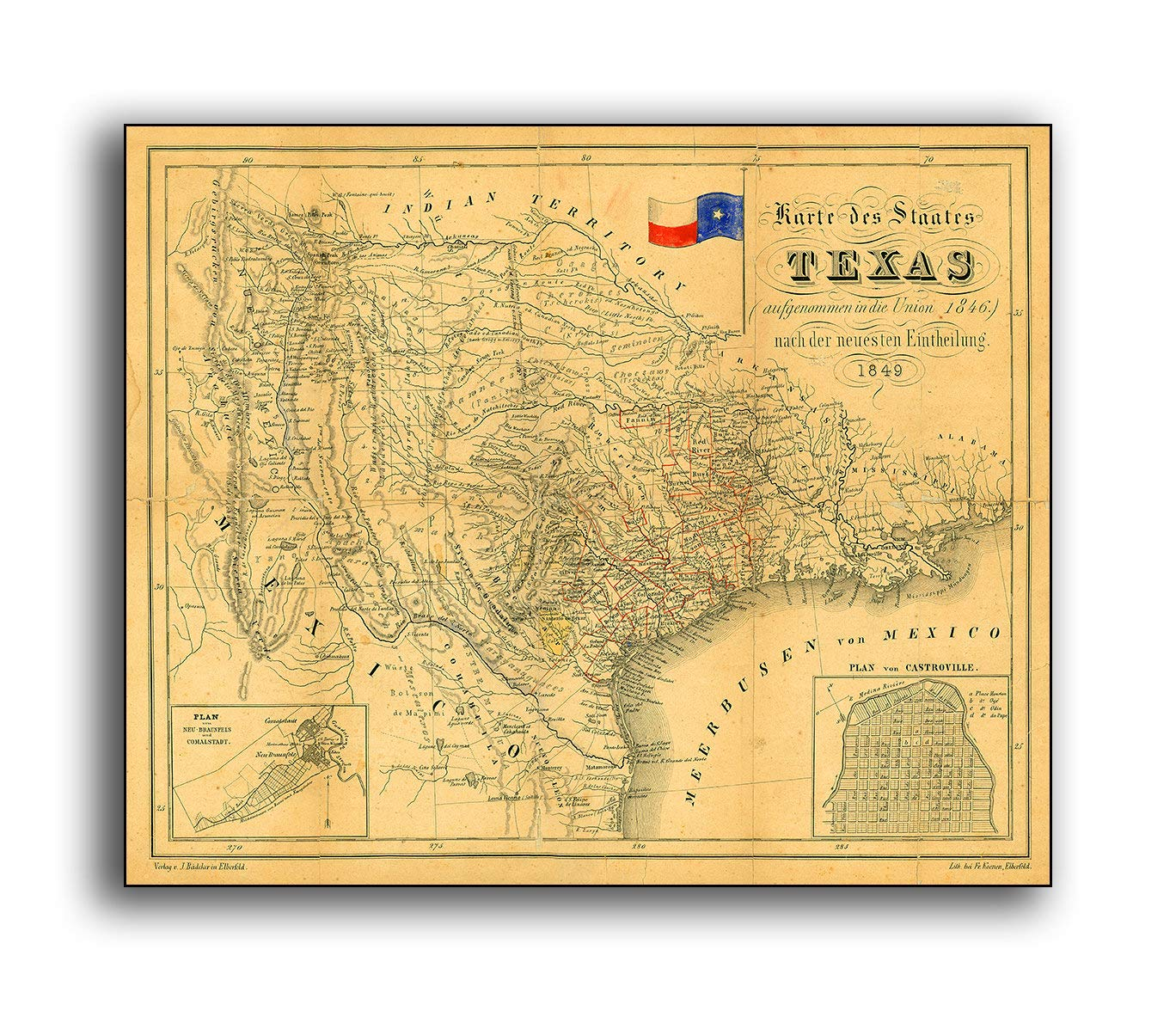 Letitia48Maud Vintage Texas Map 1849 Reproduktion antiker ...
