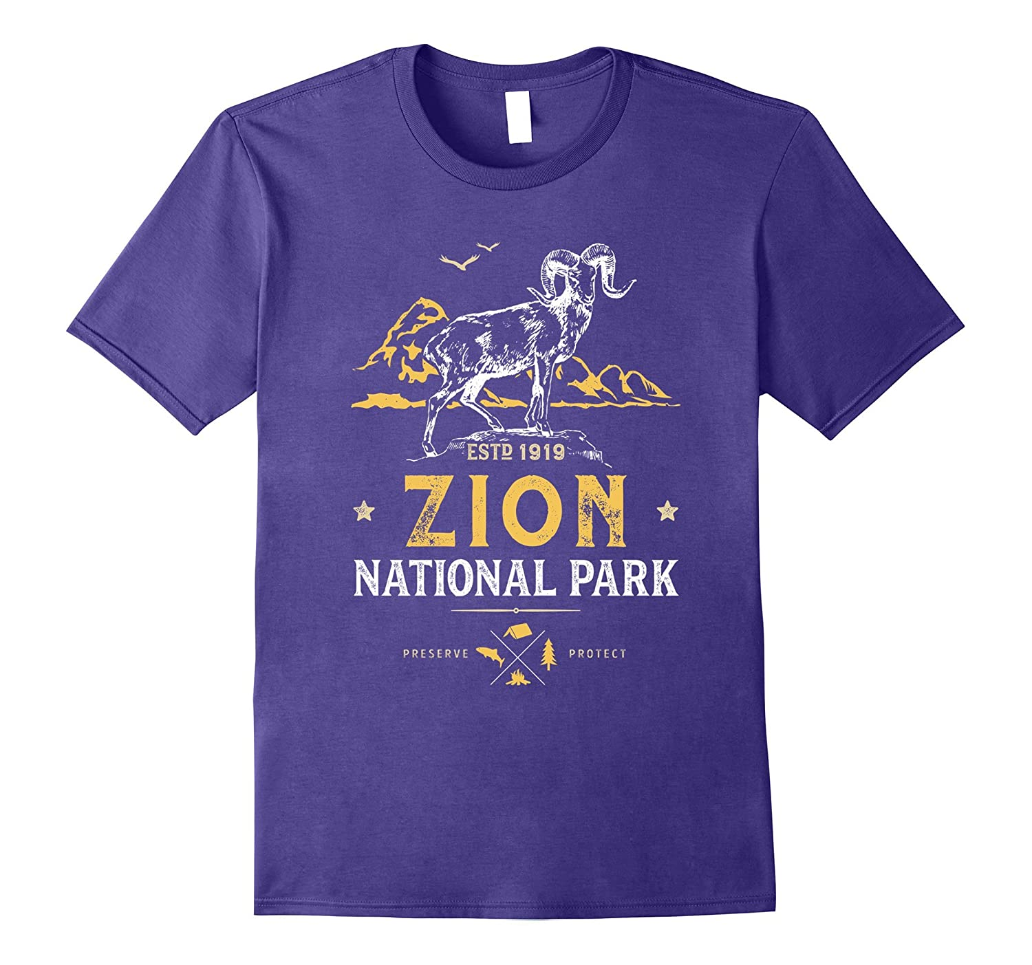 Zion National Park Vintage Bighorn Utah T Shirt Men Women-BN