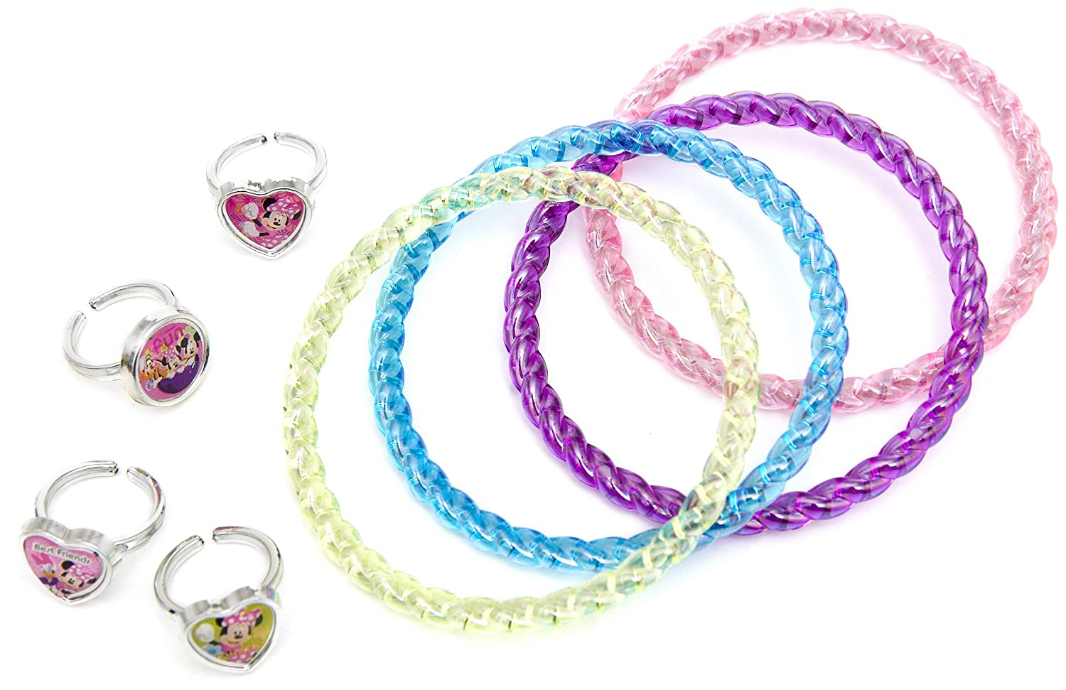 Joy Toy - 23149 - Set avec braclet et 4 bagues Glitter Party Minnie