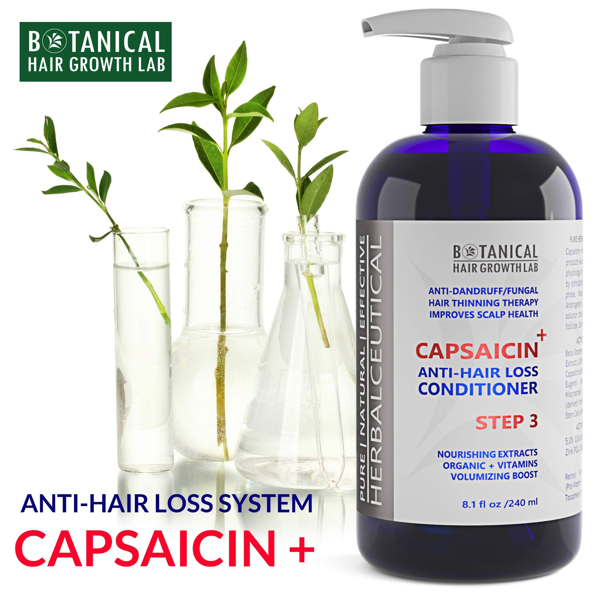 Hair Loss Serum DHT Blocker Shampoo and Conditioner for Hair Growth CAPSAICIN+ Oil-Free Formula - Caffeine, Niacin, Vitamins, Hyaluronic, Botanical Extracts - Hair Loss Prevention for Men and Women