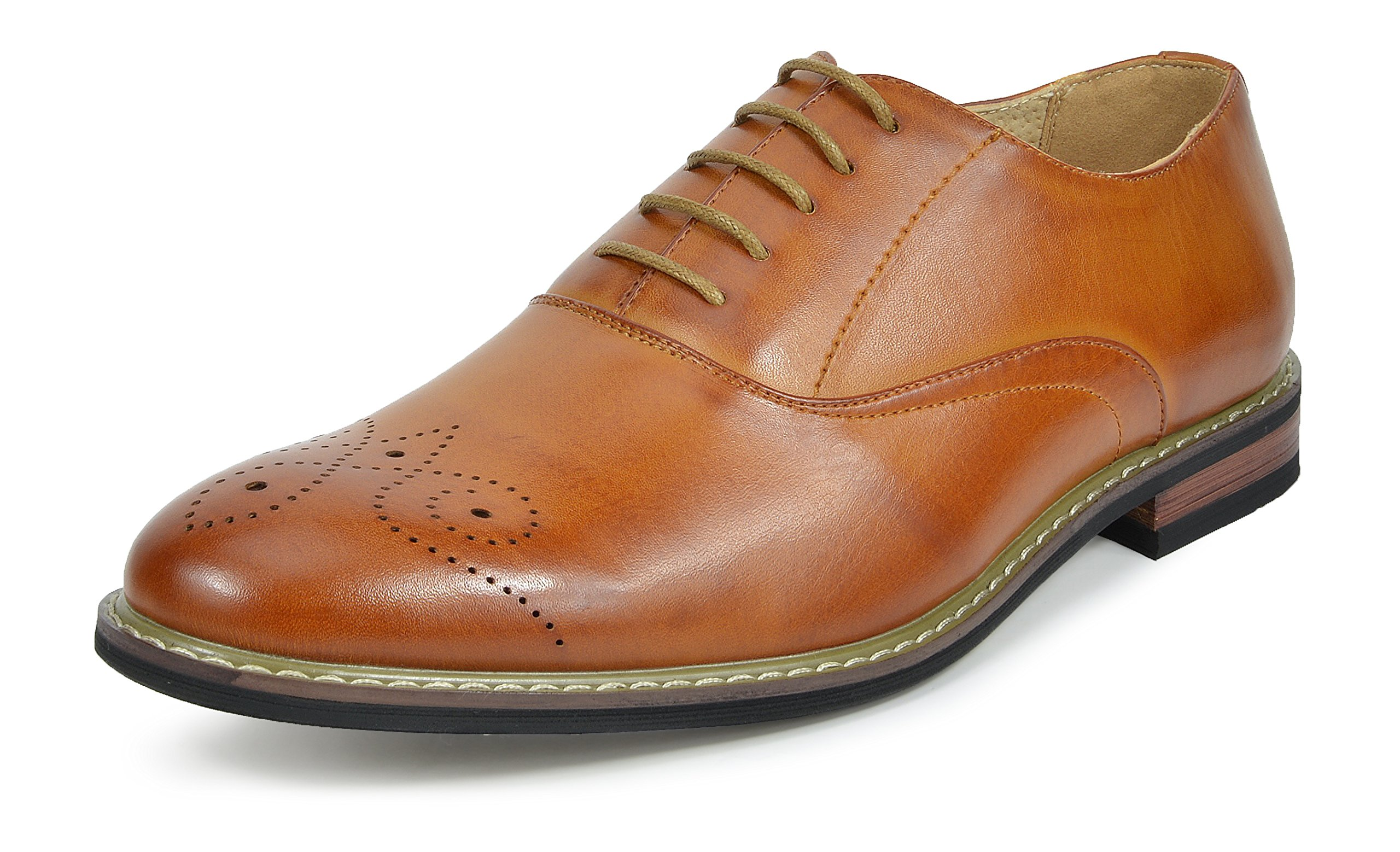 Bruno Marc PRINCE-12 Men's Oxford Modern Classic Brogue Lace Up Leather Lined Perforated Dress Oxfords Shoes Brown Size 7