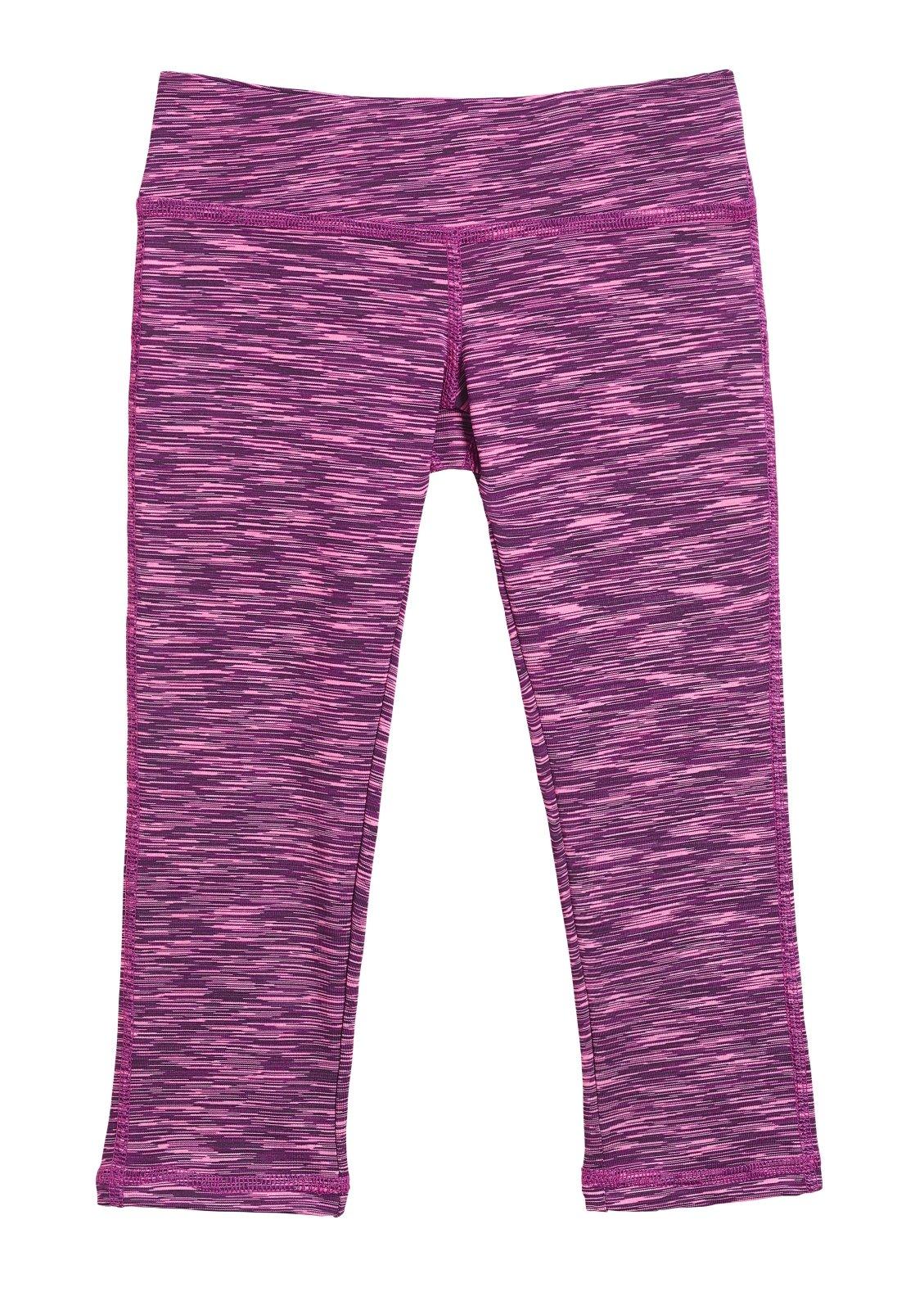 City Threads Girls' Workout Leggings Capri Summer High Performance Legging For School Camp Sports Dance Gymnastics and Playing, Pink/Purple/Black, 16