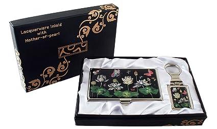 Nacre Fleur De Lotus Et Motif Papillon Porte Cles Support Pour Nom Credit Carte