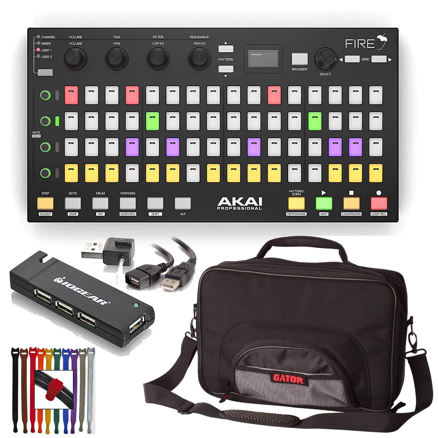 Akai Professional Fire FL Studio Performance Controller with FL Studio Fruity Edition Software + Gator Padded Bag + 4-Port USB 2.0 Hub + High Speed USB Extension Cable & Colored Straps by Akai