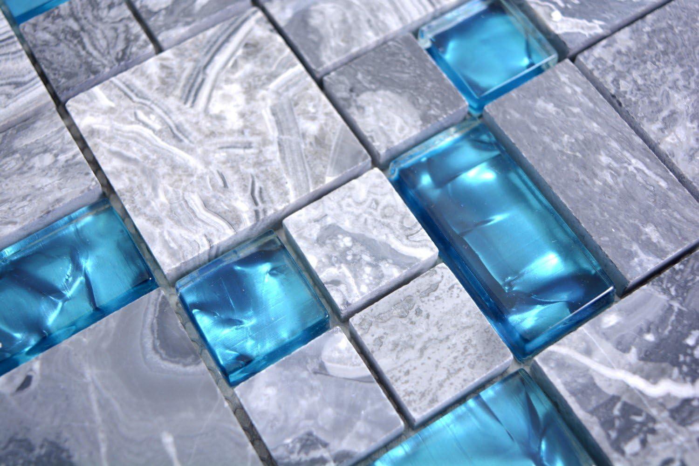 Mosaik Carrelage translucide gris et bleu pour salle de bain et WC avec motif mosa/ïque