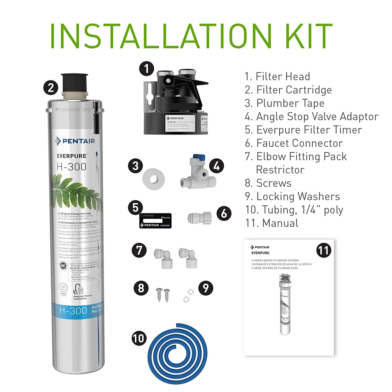 Amazon.com: Everpure H-300 Drinking Water Filter System (EV9270-76). Quick  Change Cartridge System. Commercial Grade Water Filtration and Lead  Reduction: ...