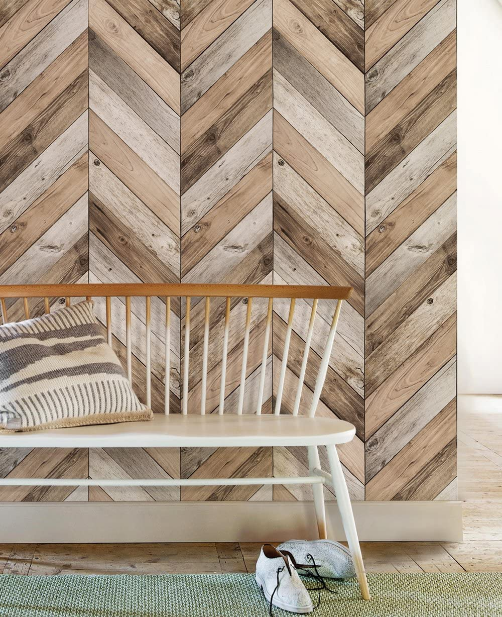 Chevron Wood Wallpaper Peel And Stick 2 Ft X 4 Ft Single By Simple Shapes Amazon Com