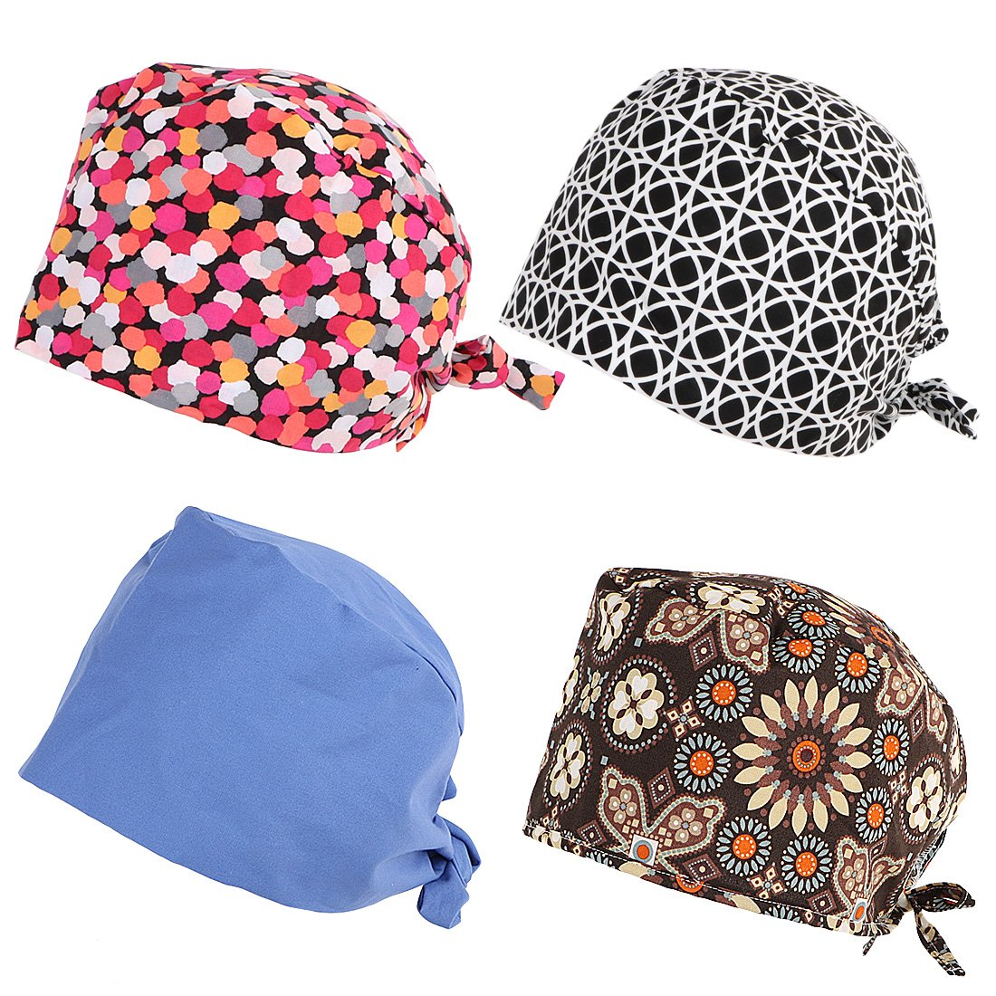 kilofly 4pc Women Men Adjustable Scrub Cap Sweatband Bouffant Hats Value Set by kilofly