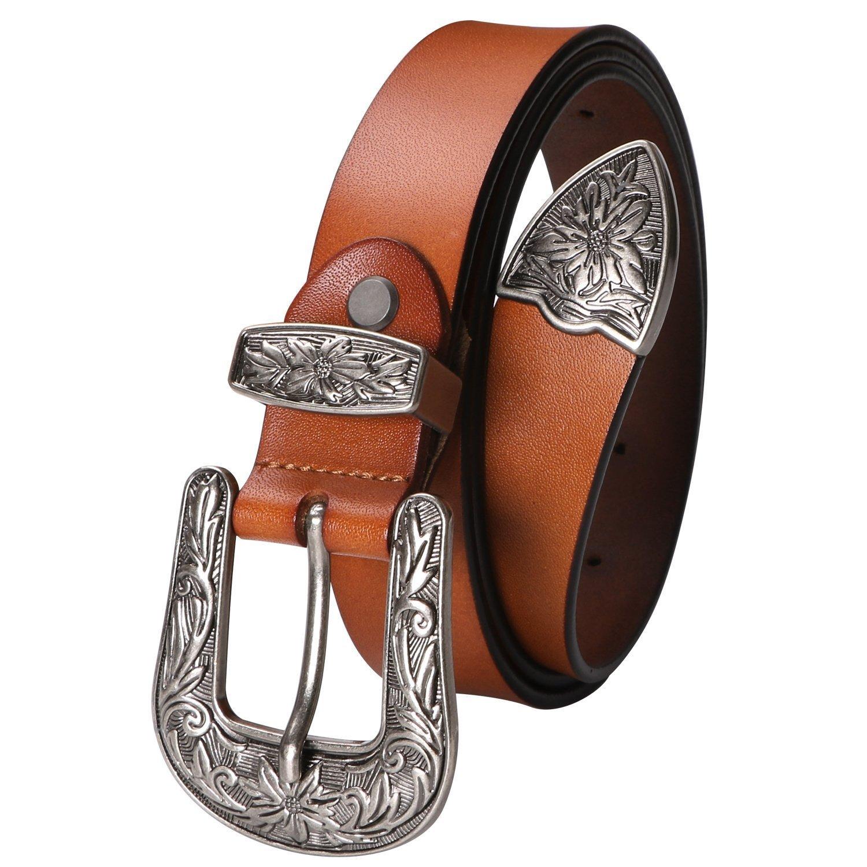 Ladies Western Leather Belts Cowhide Leather Jeans Belt Vintage Dresses Skinny Belt Adjustable Metal Buckle 28''-34'' Gift Box Brown by XZQTIVE (Image #1)