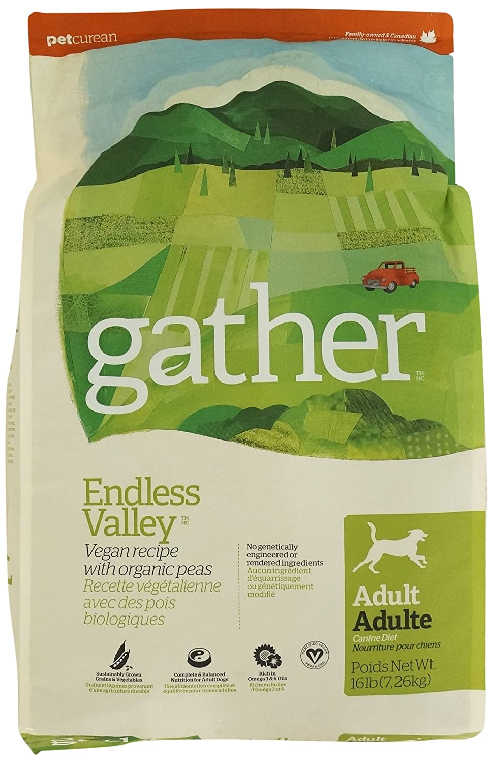 Petcurean Gather Endless Valley Vegan Recipe Dry Dog Food – 16 lb. Bag