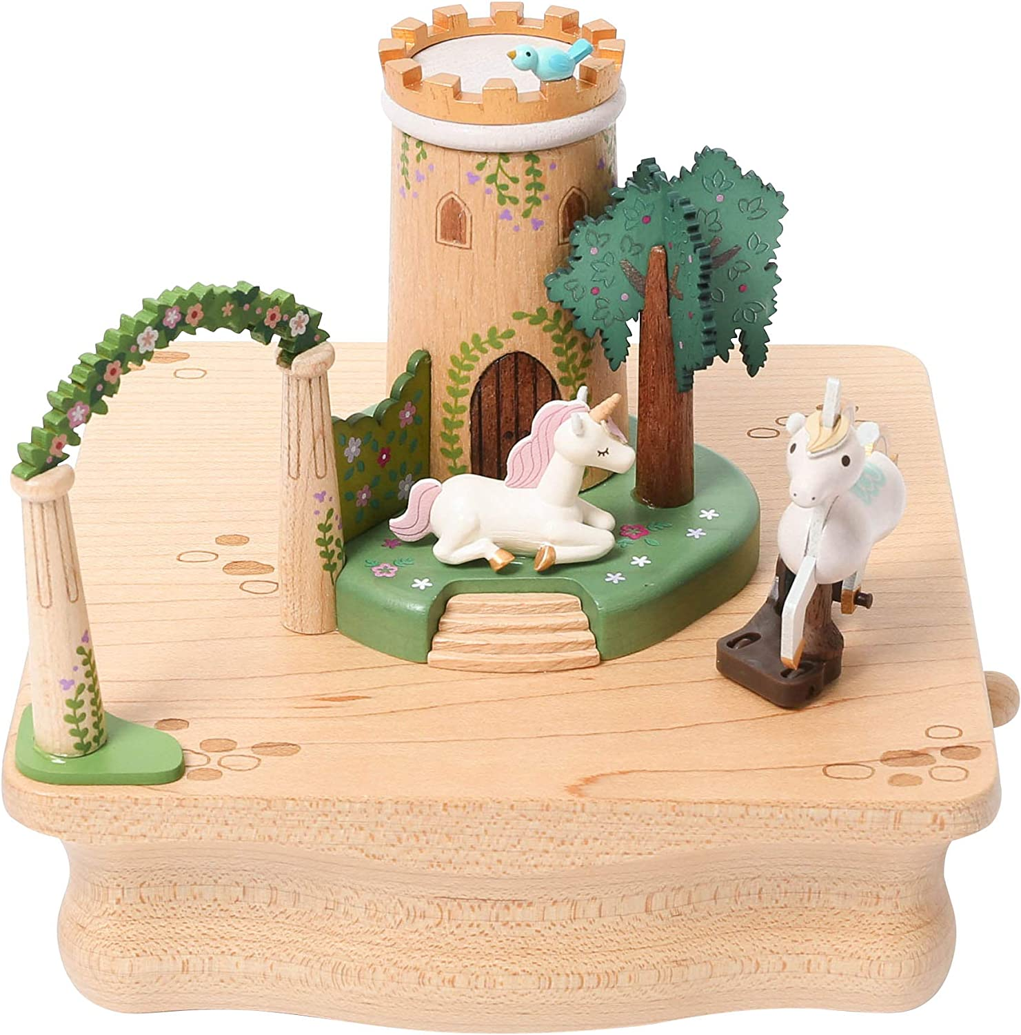 WOODERFUL LIFE Wooden Music Box | Castle Garden | 1060350 | Nature Wood Color Hand Made Unicorn Elaborate Design Beautiful Gift with Small Moving Magnetic Part | Plays - Fruhlingslied