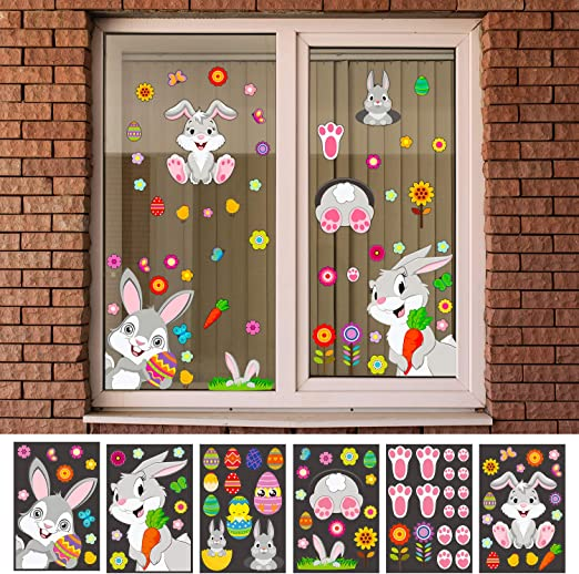 100 Pieces Easter Bunny Egg Wall Decals Window Sticker Wall Sticker Wall Decoration with Easter Bunny Egg Flower Carrot Patterns for School Home Office Use Party Supplies