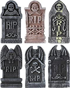 BELANT Halloween Decorations Graveyard Tombstones Assortment Foam RIP Headstone Decorations with 12 Bonus Stakes for Outdoor Halloween Yard Decorations, Pack of 6