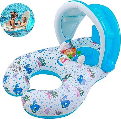 Inflable Anillo de Natación para Madre y Bebé con Sombrilla ...