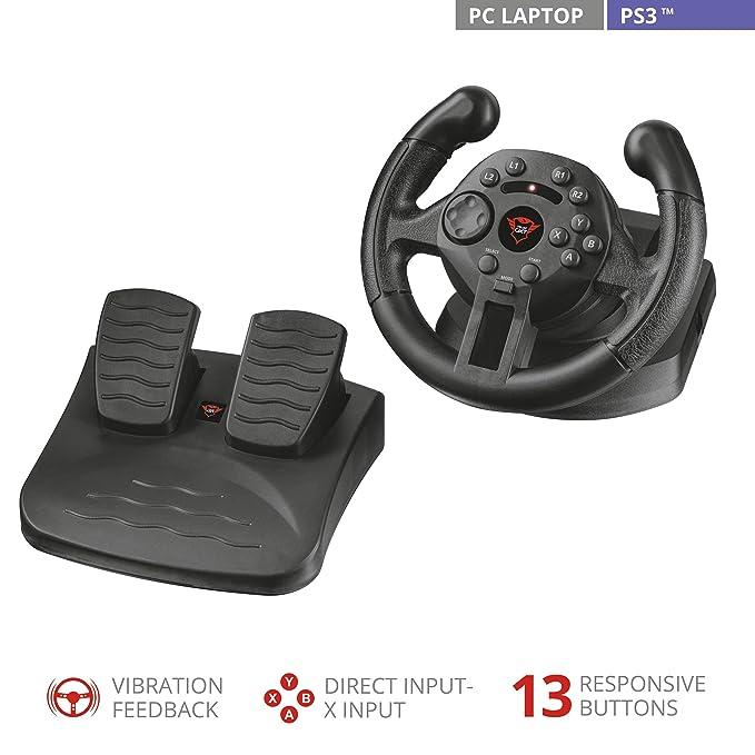 6429148ecb73 Trust Gaming 21684 GXT 570 Volante da Corsa con Feedback a Vibrazione per  PS3 e PC, Nero: No Name: Amazon.it: Informatica